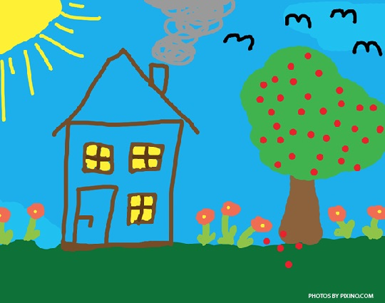 Child's colour painting of a home with a tree and flowers.