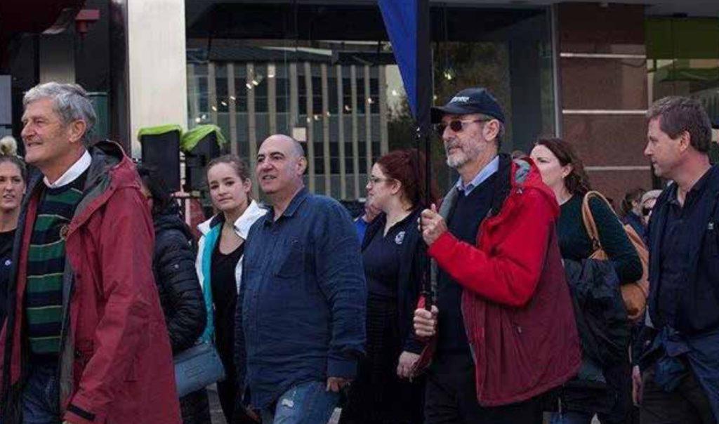 People walking in a demonstration.