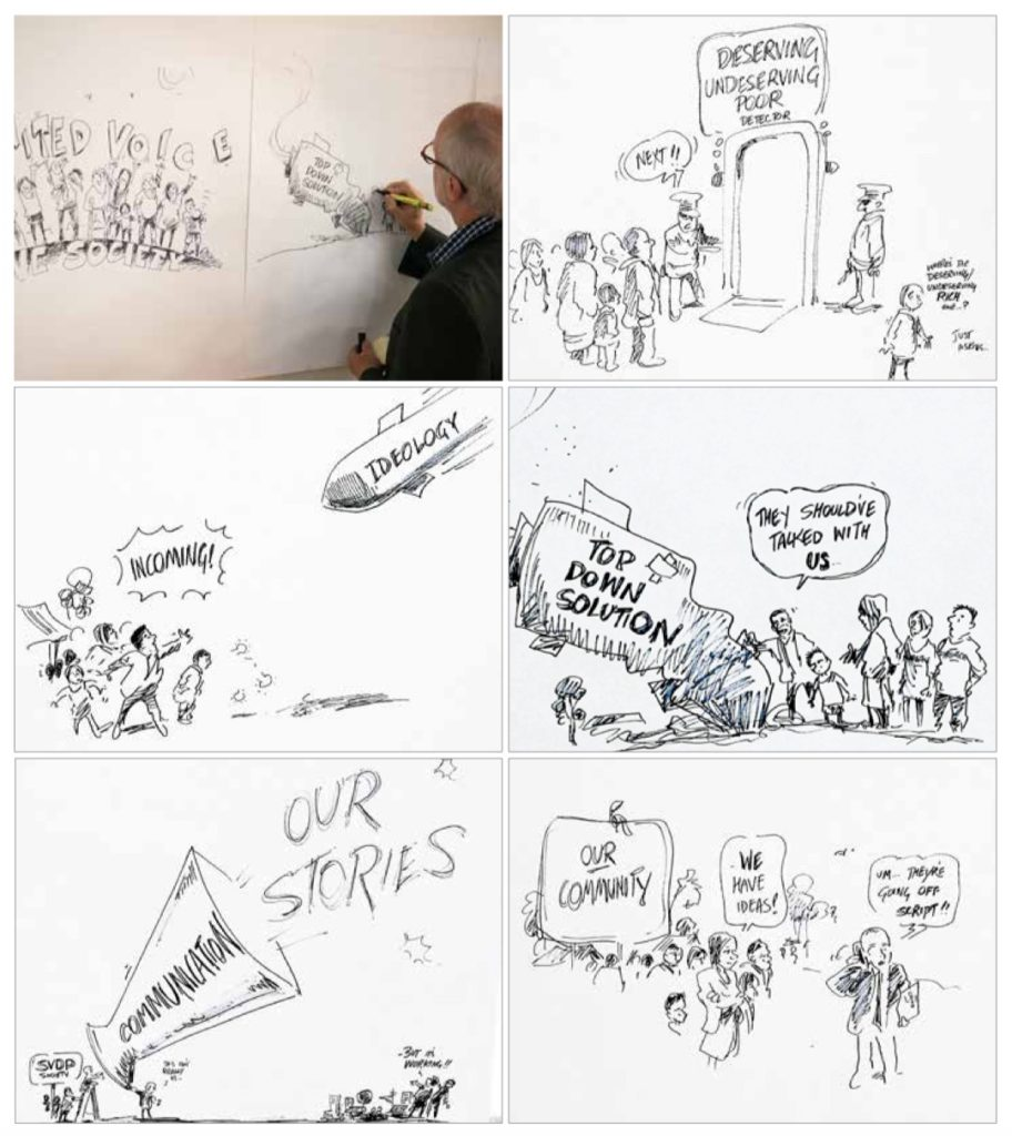 Six cartoon panels. The top left shows the cartoonist doing the drawing.