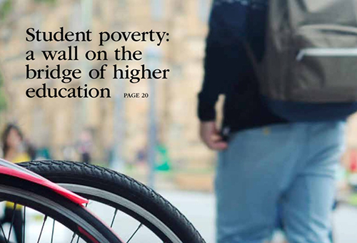 Man with a backpack walking past bicycles in a bike rack. Text: Student poverty: wall on the bridge of higher education.