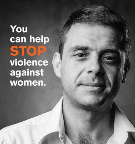 Image of man. Text: You can help STOP violence agains women.