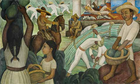 Painting of native people working in the sugarcane industry with colonial overseer on horseback.