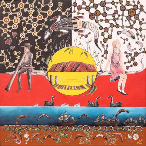 Indigenous painting. At the bottom of the painting a layer representing Indigenous Australia before colonisation, but the boats are sailing towards the shore. The upper part of the painting depicts two figures on either side of a yellow circle with Uluru in the centre. On the left an Indigenous man plays a digeridoo on the right a white woman.