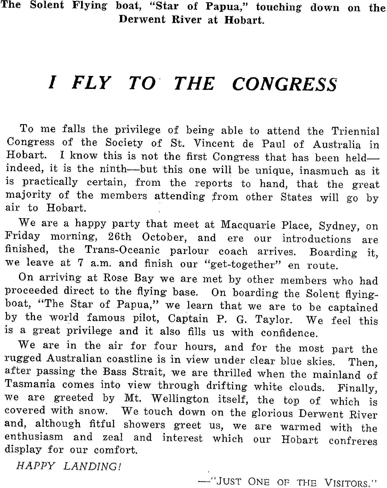 An image of an article titled 'I fly to the Congress'