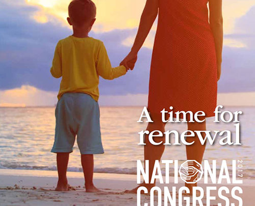 Woman and boy on the beach looking out at the ocean. Text: A time for renewal: National Congress 2017.