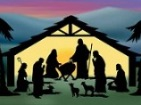 Thumbnail: stylised birth of Christ manger scene in silhouette.