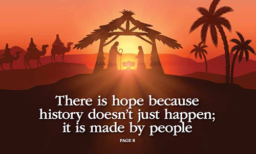 Sunset with manger and palm trees in silhouette. Text: There is hope because story doesn't just happen, it is made by people.