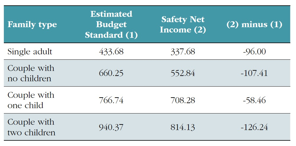 Table figures: Single adult estimated standard budget 433.68, safety net income 337.68, net gap -96.00; Couple with no children: standard budget 660.25, safety net income 552.84, gap -107.41; Couple with one child: standard budget 766.74, safety net income 708.28, gap -58.46; Couple with two children: standard budget 940.37, safety net income 814.13, gap -126.24.