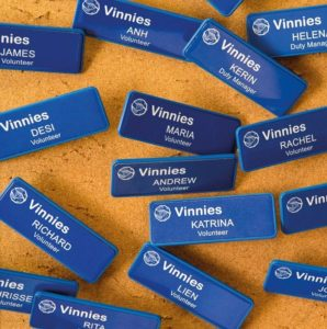 Image of a group of Vinnies name tags.