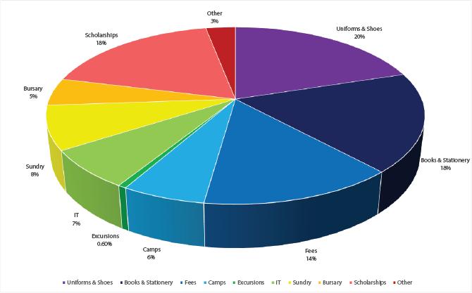 Rainbow coloured pie chart.